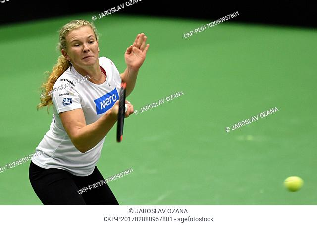 Czech tennis player Katerina Siniakova in action during the training session prior to the first round 2017 Fed Cup in Ostrava, Czech Republic, February 8, 2017