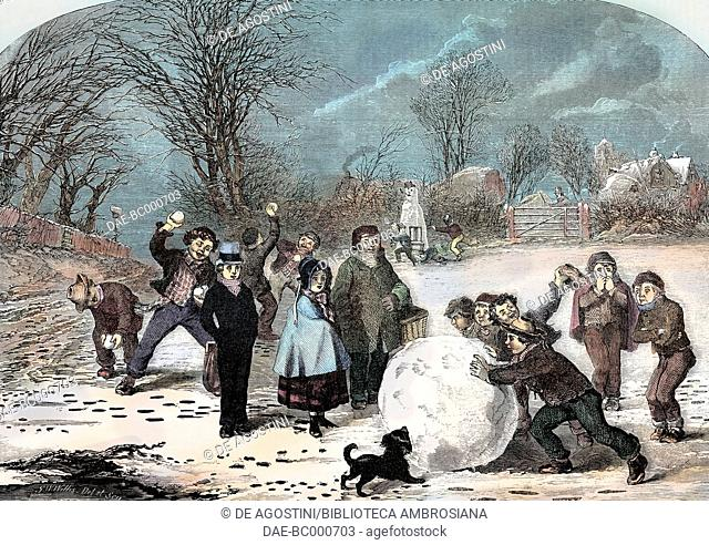 Snowy morning in London, United Kingdom, illustration from Il Giornale Illustrato, Year 2, No 13, March 31-April 6, 1865. Digitally colorized image