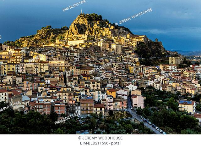 Hillside town at sunset, Nicosia, Sicily, Italy