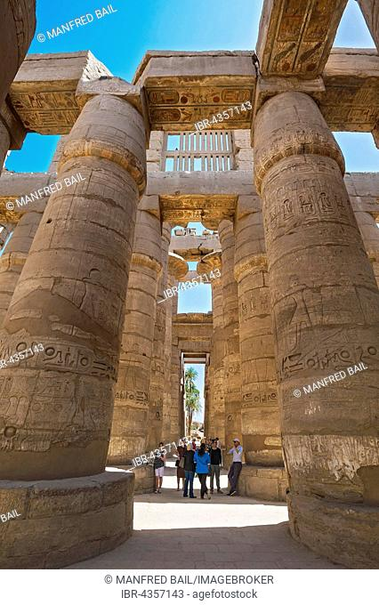 Portico with tourists in the Karnak Temple, Karnak, Luxor, Egypt