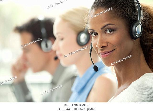Telemarketer working in call center