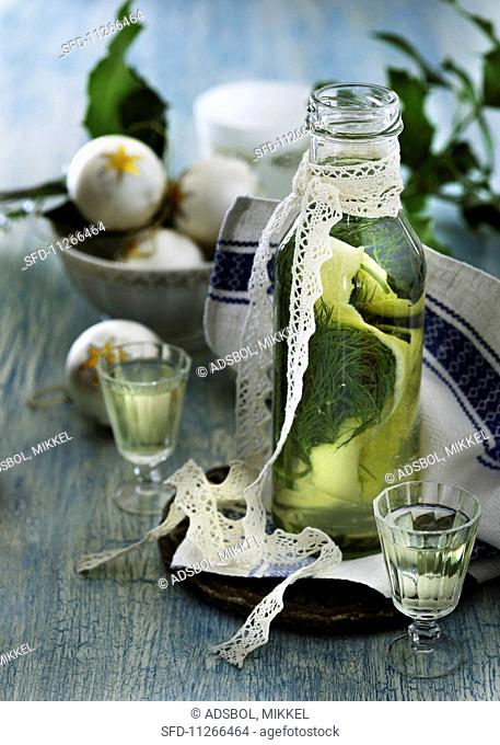 A bottle of lemon and dill schnapps