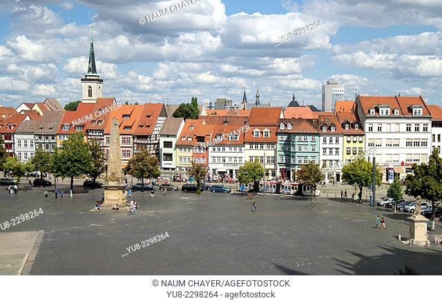 Beautiful city sky from Domberg hill, Erfurt, capital city of Thuringia, Germany, Europe
