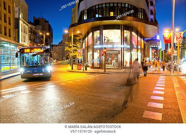 Gran Via street, night view. Madrid, Spain