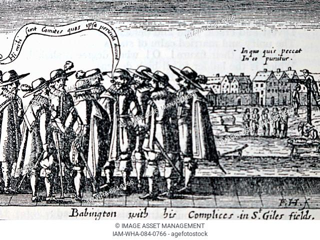 Woodblock print titled 'A Thankfull Rememberance' depicting the Babington with his Accomplices in St. Giles fields. Dated 17th Century