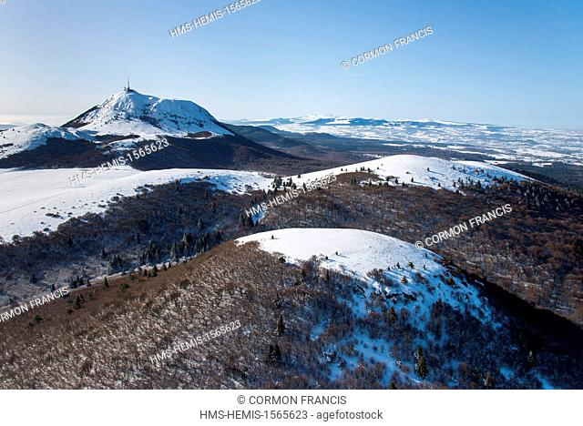 France, Puy de Dome, Regional Natural Park of the Volcanoes of Auvergne, Orcines, Le Cliersou and Puy de Dome in the background (aerial view)