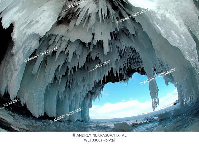 Ice cave on Olkhon island, Lake Baikal, Siberia, Russian Federation, Eurasia