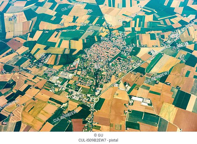 Aerial view of rural village and fields near Milan, Italy