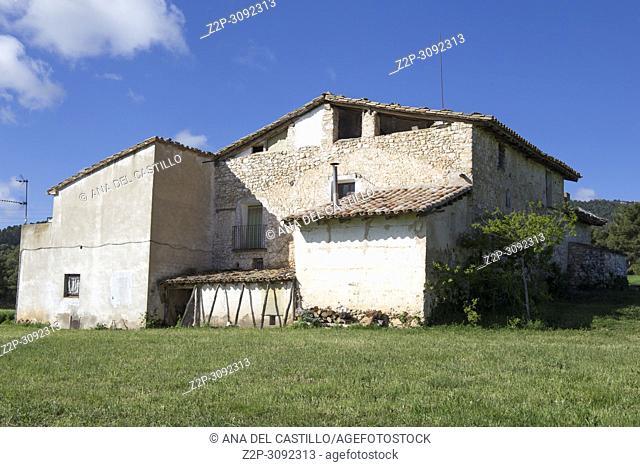 Spring landscape Matarrana county in. Teruel, Aragon, Spain. Farmland Penyarroya de Tastavins