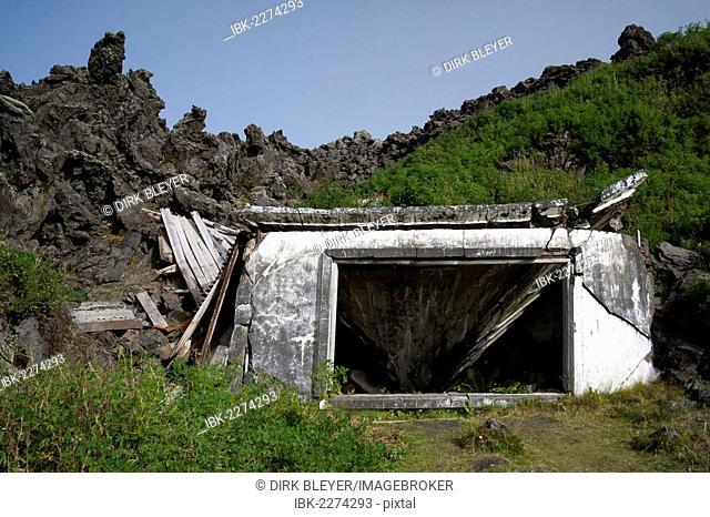 Buried house, Eldfell lava field, town of Vestmannaeyjar, Heimaey Island, Westman Islands, Suðurland or South Iceland, Iceland, Europe