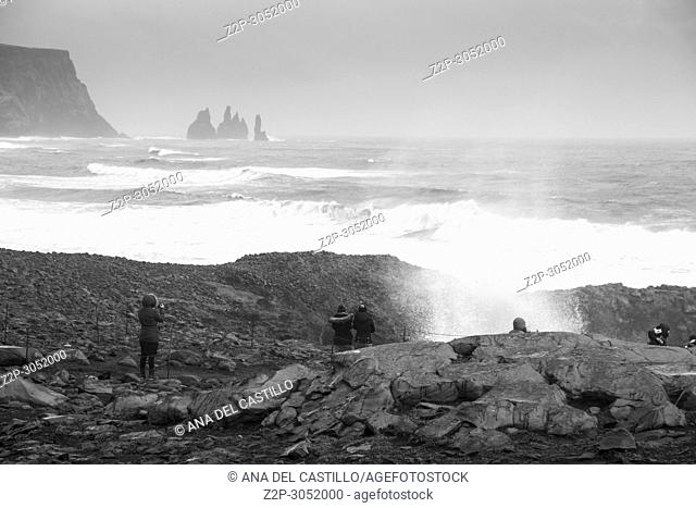 Reynisdrangar Sea Stacks at Vik and Reynisfjara Beach, Iceland
