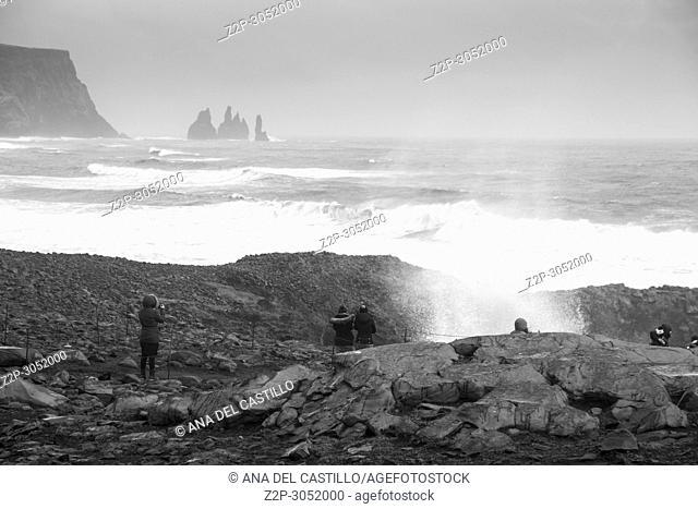 Reynisdrangar Sea Stacks at Vik and Reynisfjara Beach, Iceland