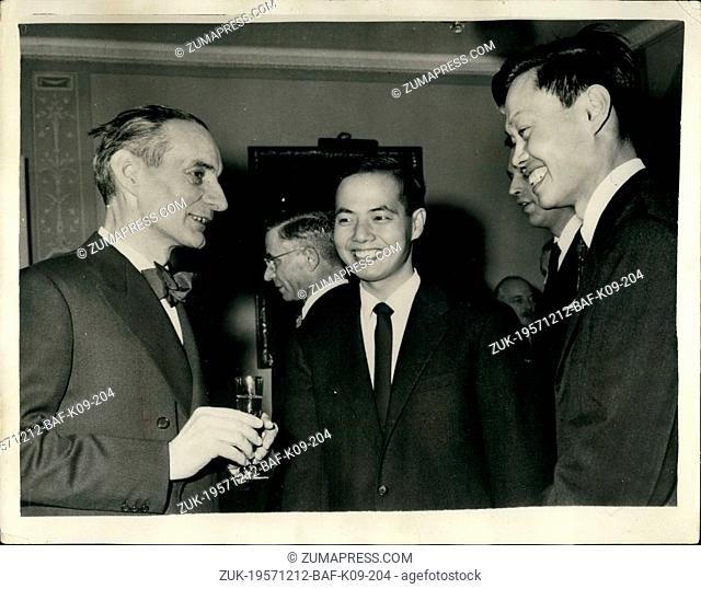 Dec. 12, 1957 - The Swedish Earl Marshal Holds Reception For Nobel Prizewinners In Stockholm: The Earl Marshal Birger Ekeberg held a reception at his Stockholm...
