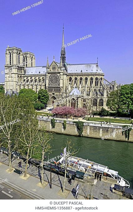 France, Paris, area listed as World Heritage by UNESCO, Notre Dame cathedral on the City island