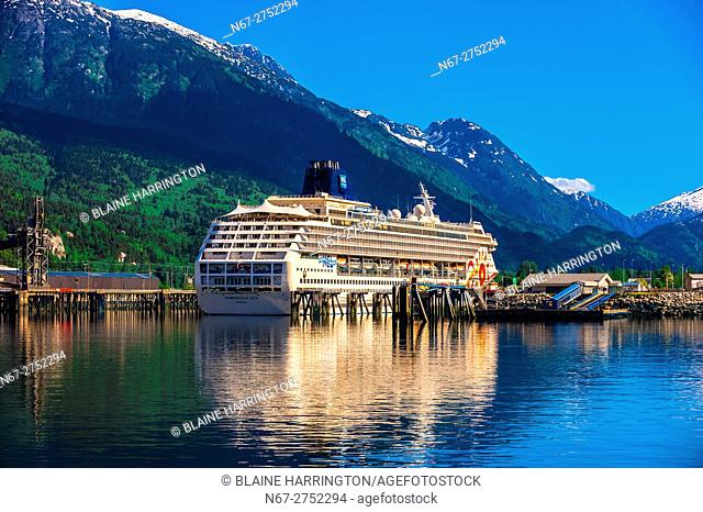 Cruise ships docked in Skagway on the Inside Passage in southeast Alaska USA
