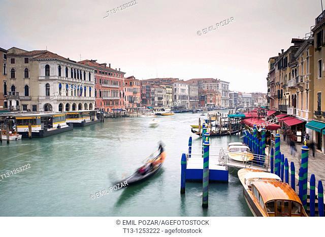 Venice in Italia, Canale Grande as seen from Rialto bridge, long exposure tripod shot