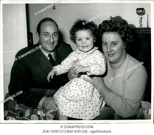 Dec. 12, 1958 - Father Loses A Fortune - To His Baby Daughter: Mrs. Jane Little, 24 year old model was killed when her two -seater car crashed into a trolleybus...