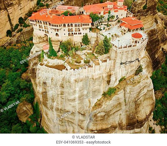 Beautiful aerial photo of the rock formations and monasteries of Meteora, Greece