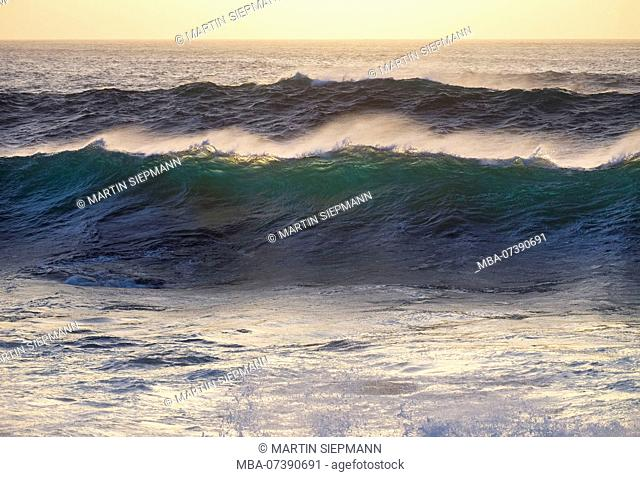 Sea waves in evening light, Valle Gran Rey, La Gomera, Canary Islands, Canaries, Spain