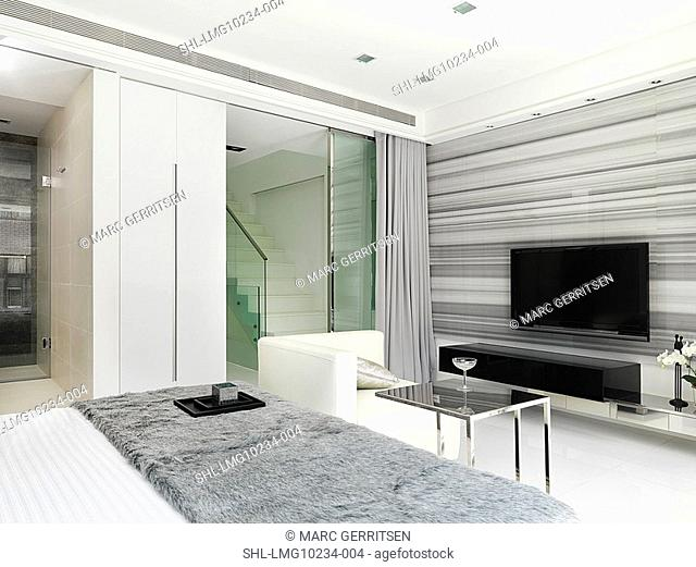 Sitting area and television in modern bedroom