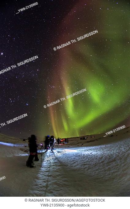 People enjoying and photographing the Aurora Borealis or Northern Lights at The Abisko Sky Station, Abisko, Lapland, Sweden