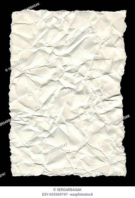 Unlined, clean white torn paper isolated on a black background