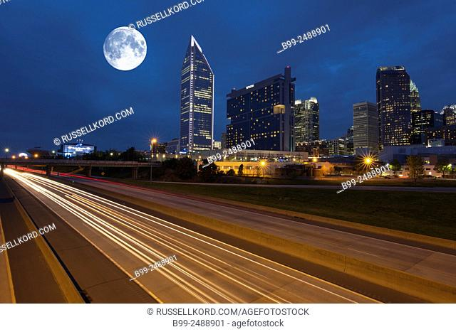 Interstate 1-277 Downtown Skyline Charlotte Macklenburg County North Carolina Usa
