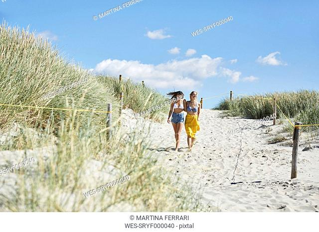 Two female friends walking through dunes to the beach