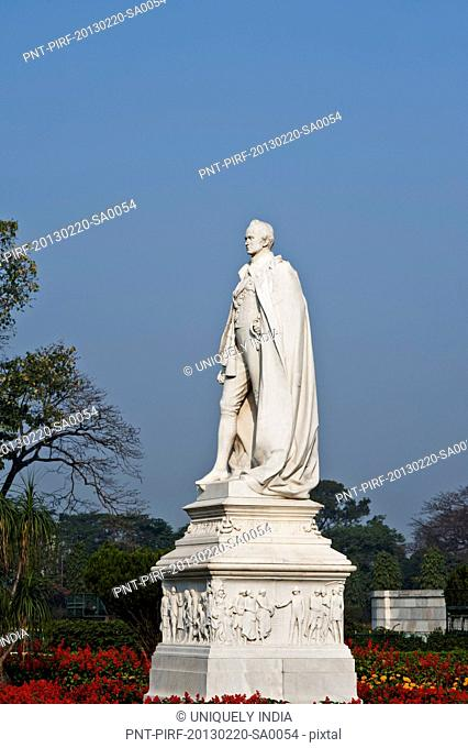 Statue of Lord Curzon in front of a memorial, Victoria Memorial, Kolkata, West Bengal, India