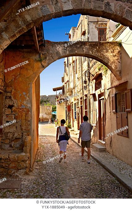 Narrow medieval lanes of Rhodes, Greece  UNESCO World Heritage Site