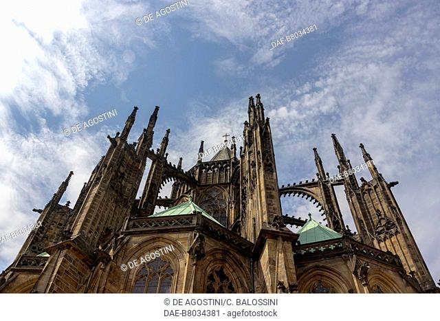 Flying buttresses and pinnacles (14th century), Cathedral of St Vitus, architects Matthias of Arras and Peter Parler, Historic Center of Prague (Unesco World...