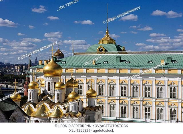 The Great Kremlin Palace with the golden domes of the Annunciation Cathedral at the foreground  Kremlin, Moscow, Russia