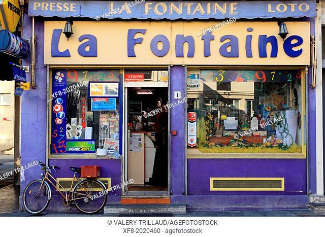 Old newspaper shop in Arles, Bouches du Rhône, Provence-Alpes-Côte d'Azur, France