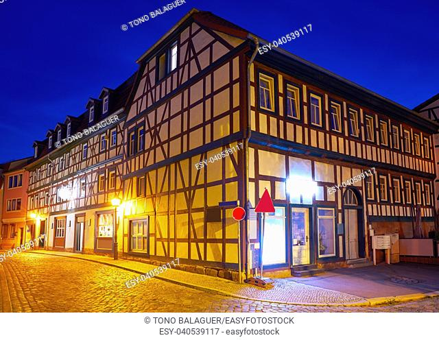 Nordhausen city facades at sunset in Thuringia Germany