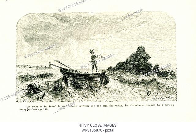 The caption for this illustration, which dates to around 1865, reads: as soon as he found himself alone between the sky and the water