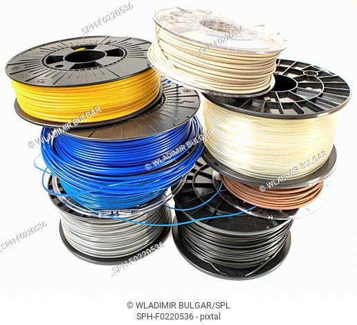 Spools of plastic filaments for 3D printing