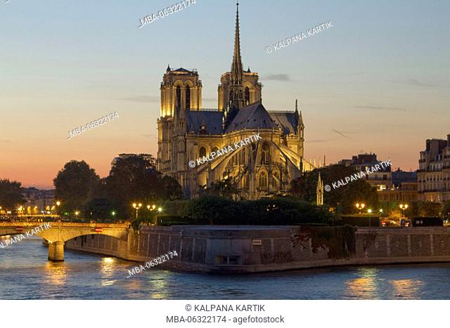 The cathedral of Notre Dame at sunset Paris France