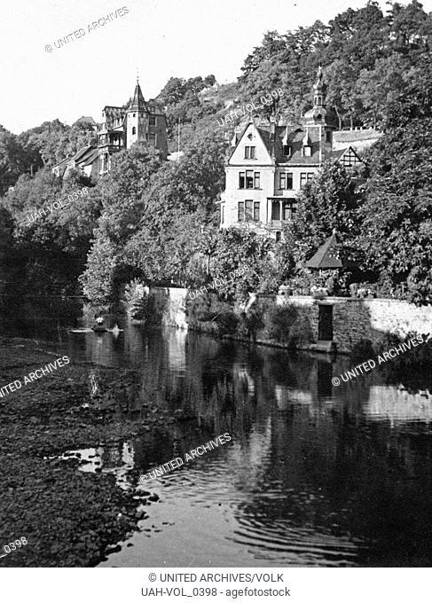 Bei Gemünd in der Eifel mündet die Olef in die Urft, Deutschland 1930er Jahre. At Gemuend in the Eifel region river Olef meets river Urft, Germany 1930s
