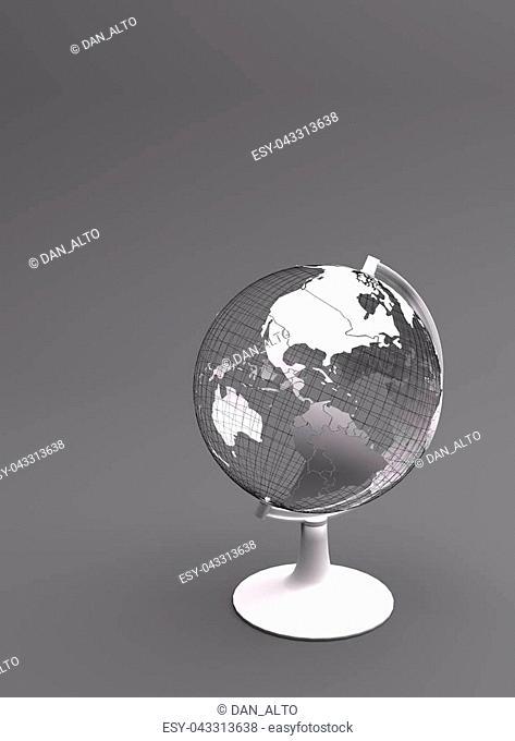 Grey terrestrial wireframed globe (3D rendering) illustrating globalization, internationalization or travel concepts