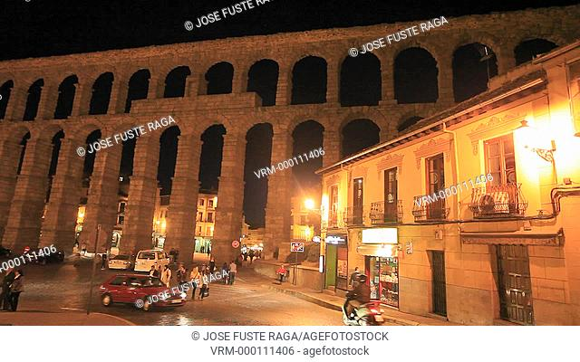 Spain , Castilla Leon Region , Segovia City, the roman built aquaduct W.H