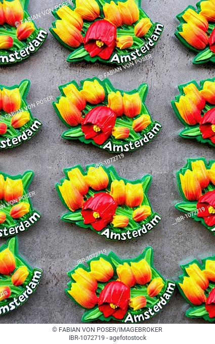 Magnets in a souvenir shop in the historic city centre of Amsterdam, Holland, the Netherlands, Europe