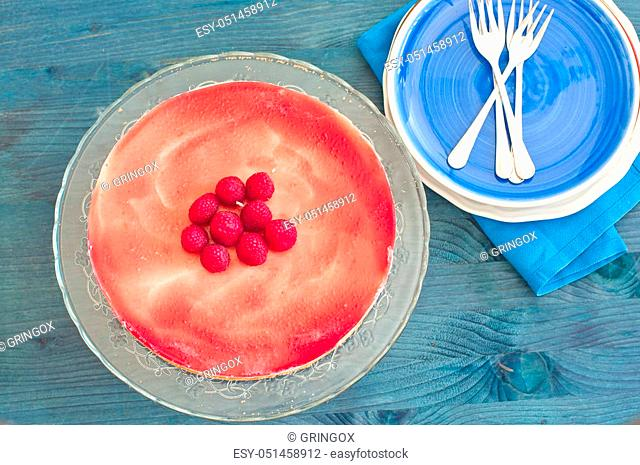 Fantastic cheesecake with cottage cheese, fresh cheese and cream of raspberries, italy