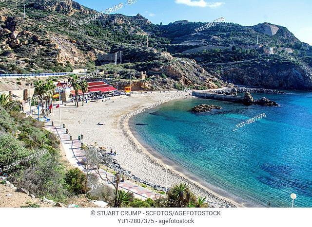 Cala Cortina beach at Cartagena in Murcia Spain