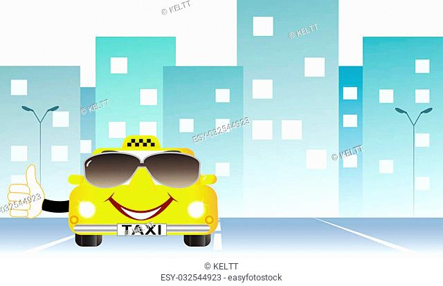 background cartoon taxi with thumb up on city road and space for text