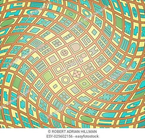 Editable vector abstract illustration of a generic map of a twisted street plan