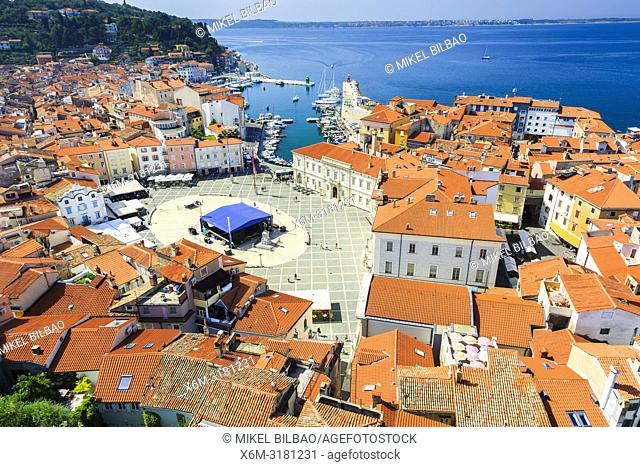 Tartini Square and city view. Piran. Slovene Istria region. Slovenia, Europe