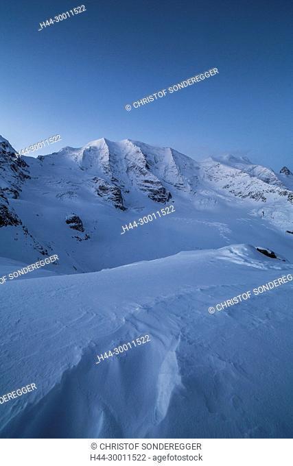 Panoramaaussicht von Diavolezza auf Piz Palü, Piz Bernina und Piz Morteratsch