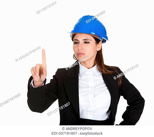 Female Architect Touching The Screen With Her Finger On White Background
