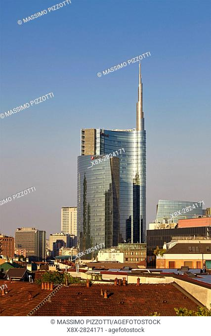 View of Unicredit Tower in Porta Nuova district, Milan, Italy