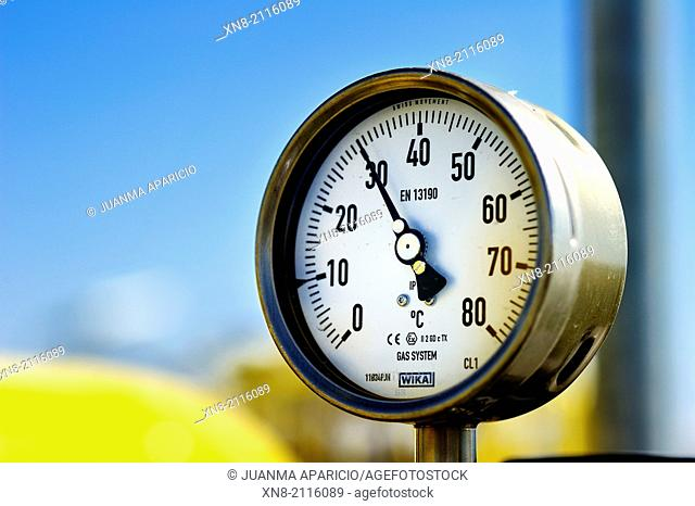 Gas Manometer in Castor Gas Plant, Vinaroz, Alicante, Spain, Europe
